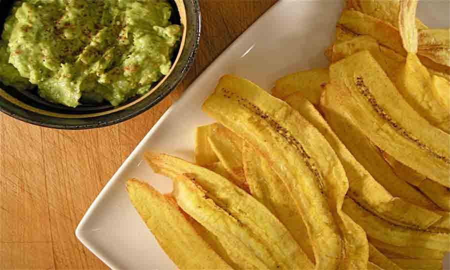 Chips de bananes plantains murs ou non murs